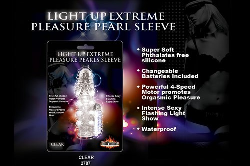 PLEASURE PEARL EXTREME LIGHT UP SLEEVE - CLEAR